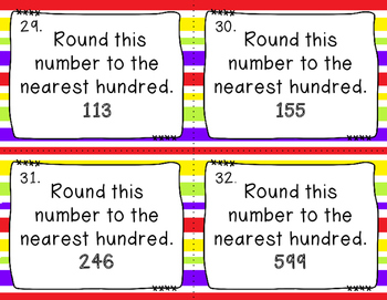 Rounding to the nearest 10 and 100 Task Cards
