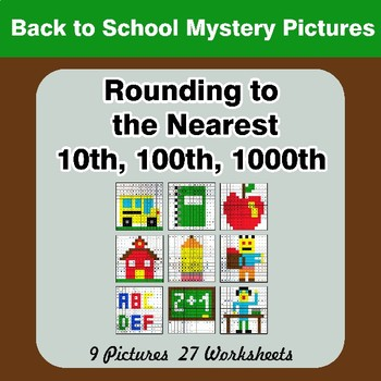 Rounding to the nearest 10th, 100th, 1000th   Back To School Color by Code