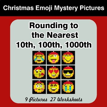 Rounding to the nearest 10th, 100th, 1000th | Christmas Emoji Color by Code