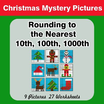Rounding to the nearest 10th, 100th, 1000th | Christmas Math Mystery Pictures