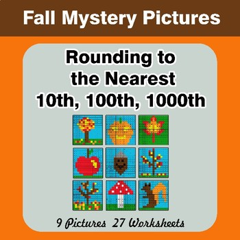 Rounding to the nearest 10th, 100th, 1000th | Color by Code Autumn (Fall)