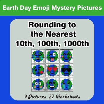Rounding to the nearest 10th, 100th, 1000th | Color by Code - Earth Day Emoji