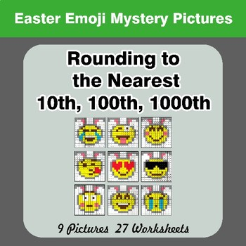 Rounding to the nearest 10th, 100th, 1000th   Color by Code - Easter Emoji