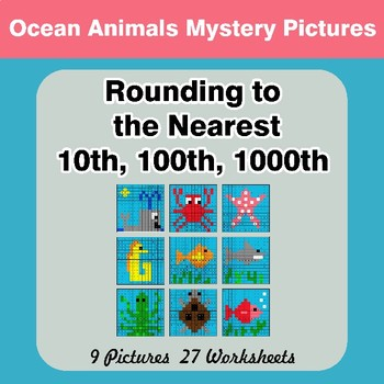 Rounding to the nearest 10th, 100th, 1000th | Color by Code Ocean Animals