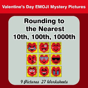 Rounding to the nearest 10th, 100th, 1000th | Color by Code Valentine's Day