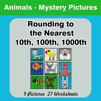 Rounding to the nearest 10th, 100th, 1000th | Math Mystery Pictures - Animals