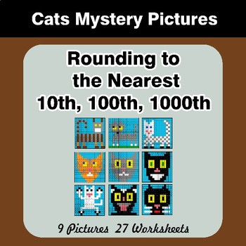 Rounding to the nearest 10th, 100th, 1000th | Math Mystery Pictures - Cats