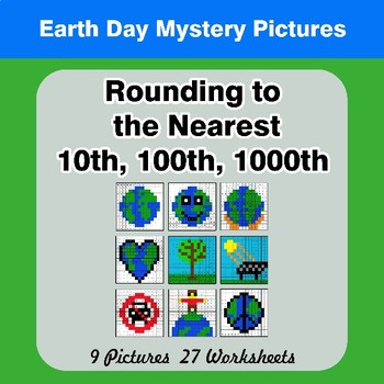 Rounding to the nearest 10th, 100th, 1000th | Math Mystery Pictures - Earth Day