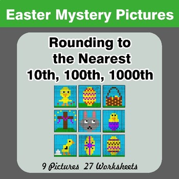 Rounding to the nearest 10th, 100th, 1000th | Math Mystery Pictures - Easter