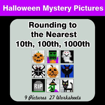 Rounding to the nearest 10th, 100th, 1000th | Math Mystery Pictures - Halloween