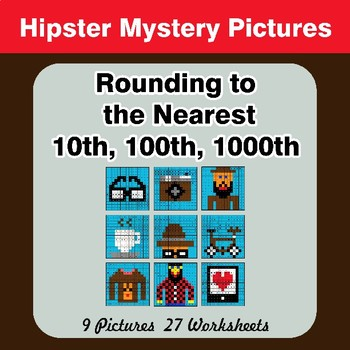 Rounding to the nearest 10th, 100th, 1000th | Math Mystery Pictures - Hipsters