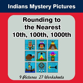 Rounding to the nearest 10th, 100th, 1000th | Math Mystery Pictures - Indians