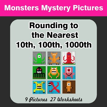 Rounding to the nearest 10th, 100th, 1000th | Math Mystery Pictures - Monsters