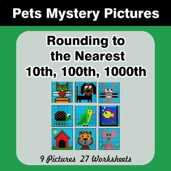 Rounding to the nearest 10th, 100th, 1000th   Math Mystery Pictures - Pets