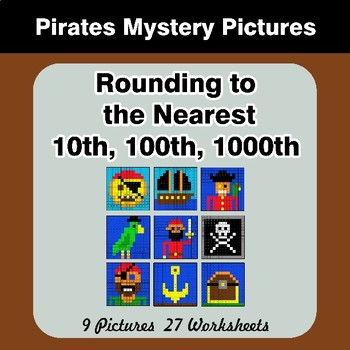 Rounding to the nearest 10th, 100th, 1000th   Math Mystery Pictures - Pirates