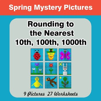 Rounding to the nearest 10th, 100th, 1000th   Math Mystery Pictures - Spring