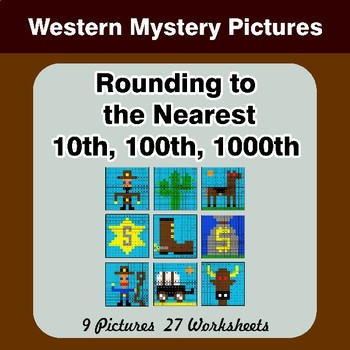 Rounding to the nearest 10th, 100th, 1000th | Math Mystery Pictures - Western