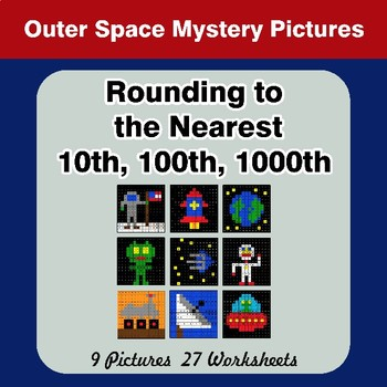 Rounding to the nearest 10th, 100th, 1000th | Outer Space Math Mystery Pictures