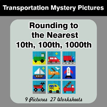 Rounding to the nearest 10th, 100th, 1000th   Transportation Color by Code