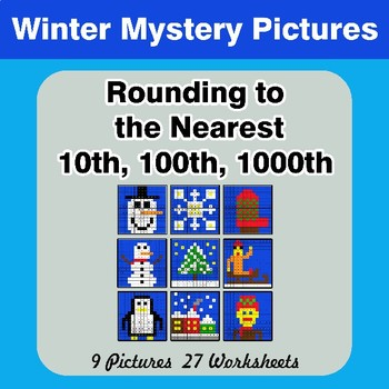 Rounding to the nearest 10th, 100th, 1000th | Winter Math Mystery Pictures