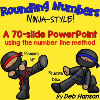 Teach your students to round to the nearest ten, hundred, and thousand using the number line method. This engaging teaching resources uses ninjas to kick numbers up or down the number line!