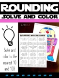Rounding with the Force: Solve & Color R2D2 Worksheet**Nea