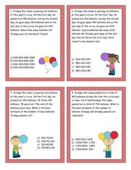 Rounding/Estimating Problem Solving Task Cards