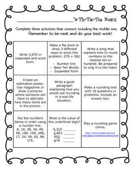 Rounding/Estimation and Place Value Tic Tac Toe Board