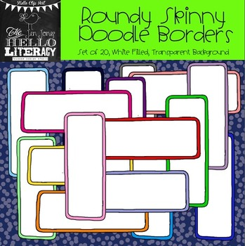 Roundy Skinny Rectangle Doodle Borders: For Personal & Commercial Use