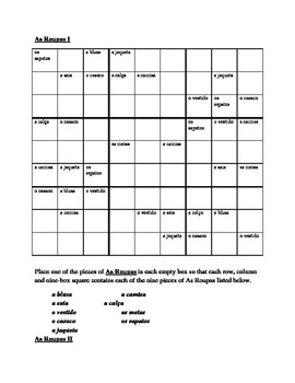 Roupa (Clothing in Portuguese) Sudoku
