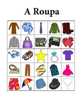 Roupa (Clothing in Portuguese) Bingo game