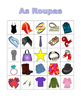 Roupa (Clothing in Portuguese) Bingo game