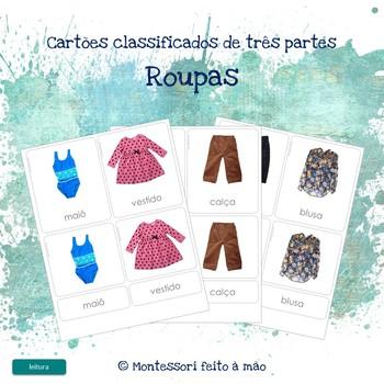 Roupas - Montessori 3 part cards in Portuguese