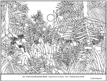 Rousseau. Virgin Forest at Sunset. Coloring page & lesson plan ideas