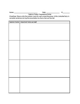 Routes of Exploration to the New World - Explorer Matrix & Poster Activity