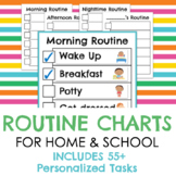 Routine Charts for home/school/daycare with 55 personalized tasks
