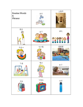 Routine Words and Phrases Mandarin Immersion
