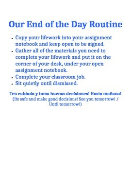 Routine and Reminder Signs