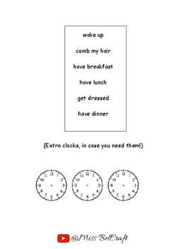 Routine and the time game. DIY dice and clock templates