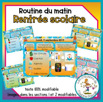 Routine du matin - Mat-1re - rentrée scolaire / Morning work k-1st - BTS