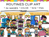 Kids Daily Routines Clip Art
