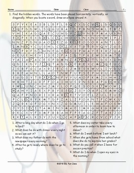 Routines-Daily Activities Word Search Worksheet