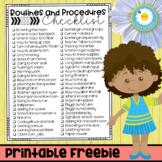 Routines and Procedures Checklist FREEBIE