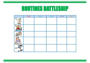 Routines battleship. Everyday activities. Speaking skills. Game