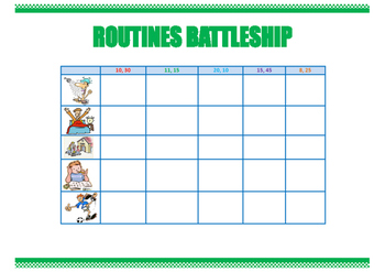 Routines battleship. Everyday activities. Speaking skills. Game