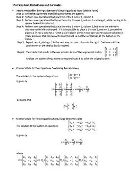 Row-Echelon Form, Cramer's Rule, and Matrix Equations Summary Handout