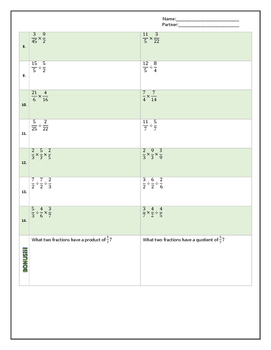 Multiplying and Dividing Fractions   Proper and Improper   Row Game
