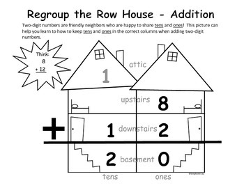 regrouping 2 digit addition subtraction row house graphic organizer pack gr 1 2. Black Bedroom Furniture Sets. Home Design Ideas