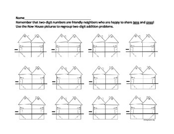 Regrouping 2-Digit Addition/Subtraction Row House Graphic Organizer Pack Gr 1 2