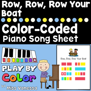 Row, Row, Row Your Boat ~ Individual Color-Coded Piano Song Sheet